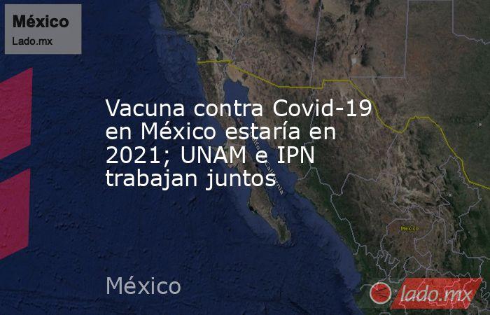 Vacuna contra Covid-19 en México estaría en 2021; UNAM e IPN trabajan juntos. Noticias en tiempo real