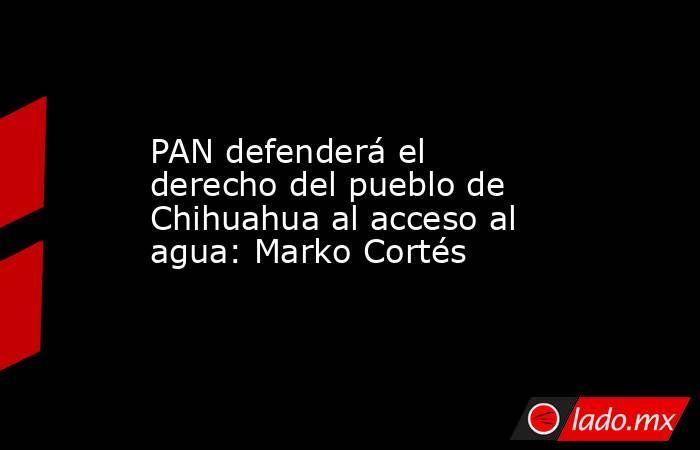 PAN defenderá el derecho del pueblo de Chihuahua al acceso al agua: Marko Cortés. Noticias en tiempo real