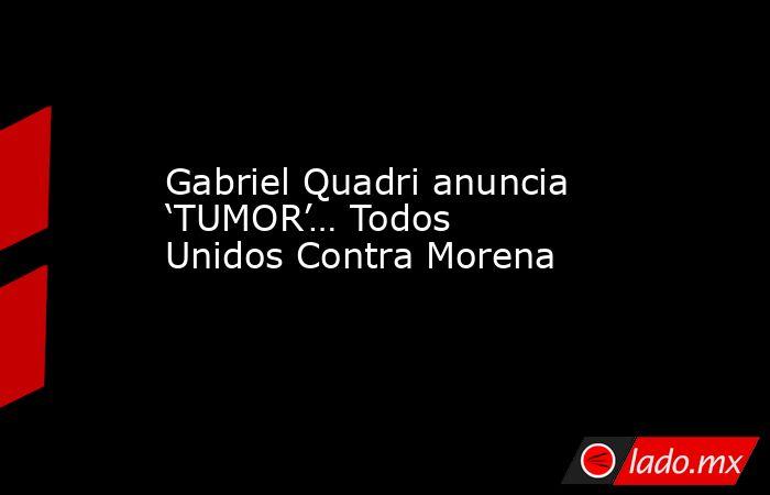 Gabriel Quadri anuncia 'TUMOR'… Todos Unidos Contra Morena. Noticias en tiempo real