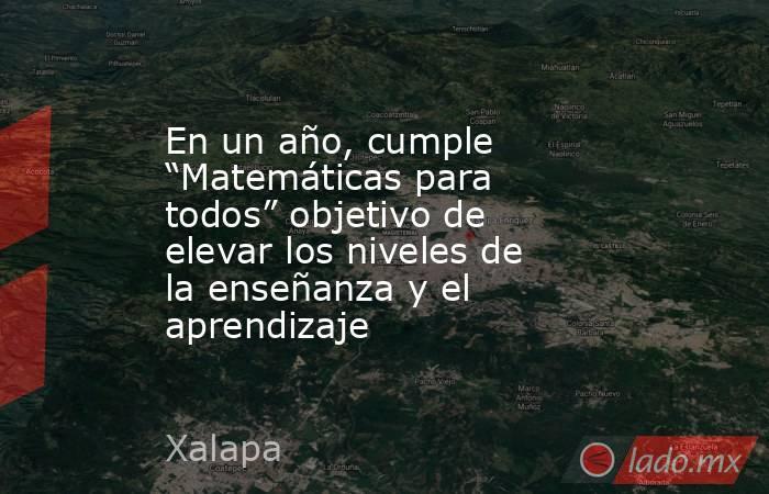 """En un año, cumple """"Matemáticas para todos"""" objetivo de elevar los niveles de la enseñanza y el aprendizaje. Noticias en tiempo real"""
