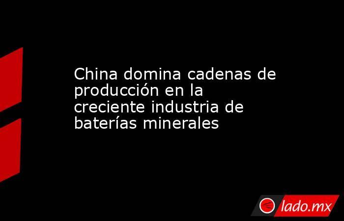 China domina cadenas de producción en la creciente industria de baterías minerales. Noticias en tiempo real