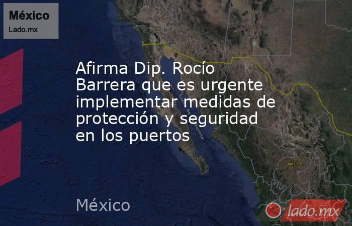 Afirma Dip. Rocío Barrera que es urgente implementar medidas de protección y seguridad en los puertos. Noticias en tiempo real