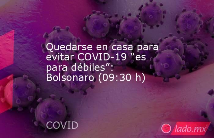 """Quedarse en casa para evitar COVID-19 """"es para débiles"""": Bolsonaro (09:30 h). Noticias en tiempo real"""