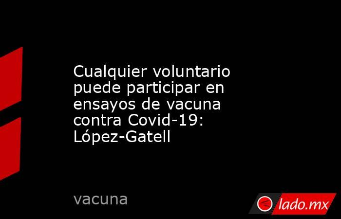 Cualquier voluntario puede participar en ensayos de vacuna contra Covid-19: López-Gatell. Noticias en tiempo real