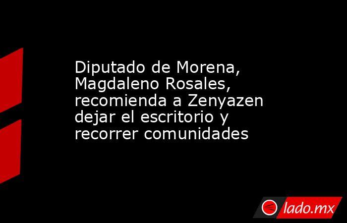 Diputado de Morena, Magdaleno Rosales, recomienda a Zenyazen dejar el escritorio y recorrer comunidades. Noticias en tiempo real