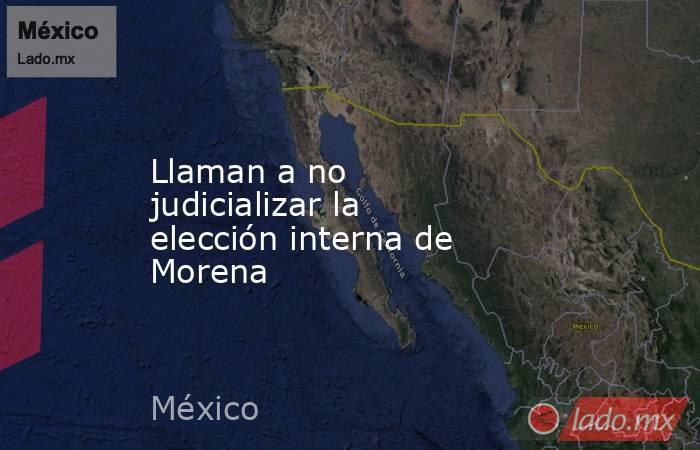 Llaman a no judicializar la elección interna de Morena. Noticias en tiempo real