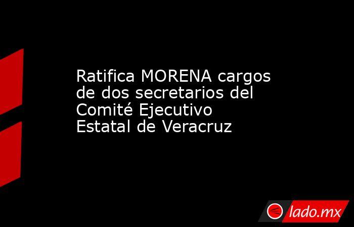 Ratifica MORENA cargos de dos secretarios del Comité Ejecutivo Estatal de Veracruz. Noticias en tiempo real