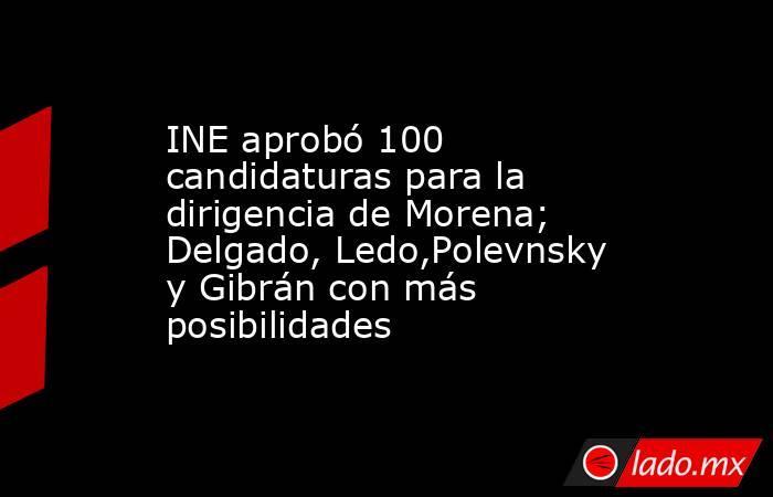 INE aprobó 100 candidaturas para la dirigencia de Morena; Delgado, Ledo,Polevnsky y Gibrán con más posibilidades. Noticias en tiempo real
