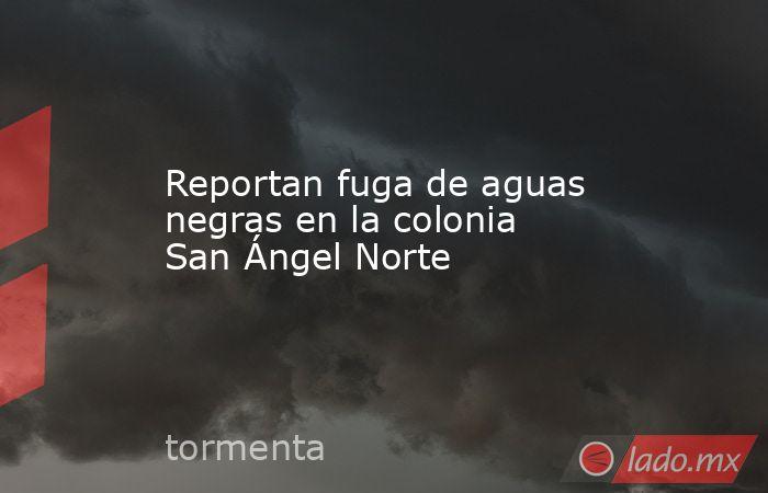 Reportan fuga de aguas negras en la colonia San Ángel Norte . Noticias en tiempo real