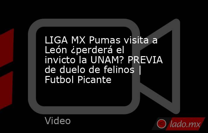LIGA MX Pumas visita a León ¿perderá el invicto la UNAM? PREVIA de duelo de felinos | Futbol Picante. Noticias en tiempo real
