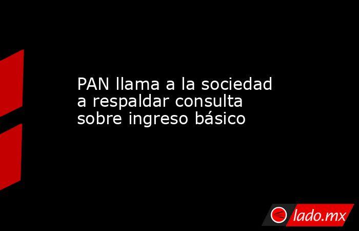 PAN llama a la sociedad a respaldar consulta sobre ingreso básico. Noticias en tiempo real
