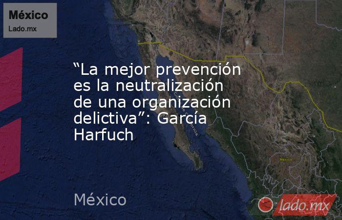 """""""La mejor prevención es la neutralización de una organización delictiva"""": García Harfuch. Noticias en tiempo real"""
