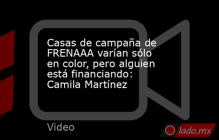 Casas de campaña de FRENAAA varían sólo en color, pero alguien está financiando: Camila Martínez. Noticias en tiempo real