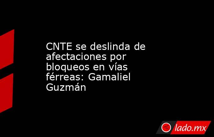 CNTE se deslinda de afectaciones por bloqueos en vías férreas: Gamaliel Guzmán. Noticias en tiempo real