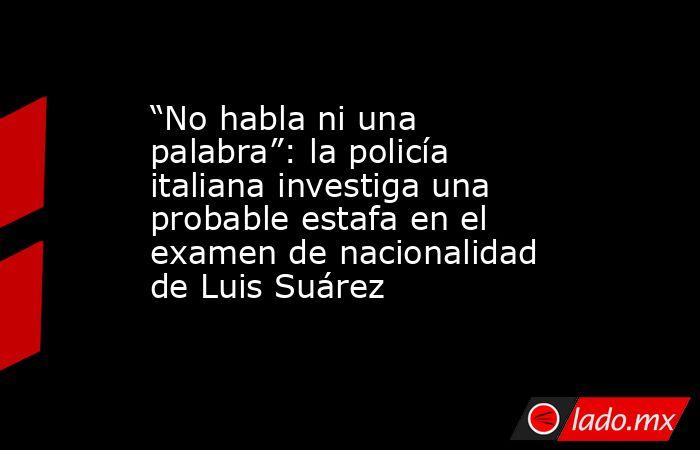 """""""No habla ni una palabra"""": la policía italiana investiga una probable estafa en el examen de nacionalidad de Luis Suárez. Noticias en tiempo real"""