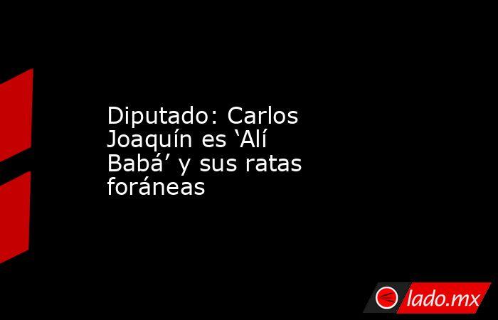 Diputado: Carlos Joaquín es 'Alí Babá' y sus ratas foráneas. Noticias en tiempo real