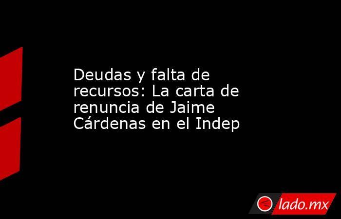 Deudas y falta de recursos: La carta de renuncia de Jaime Cárdenas en el Indep. Noticias en tiempo real