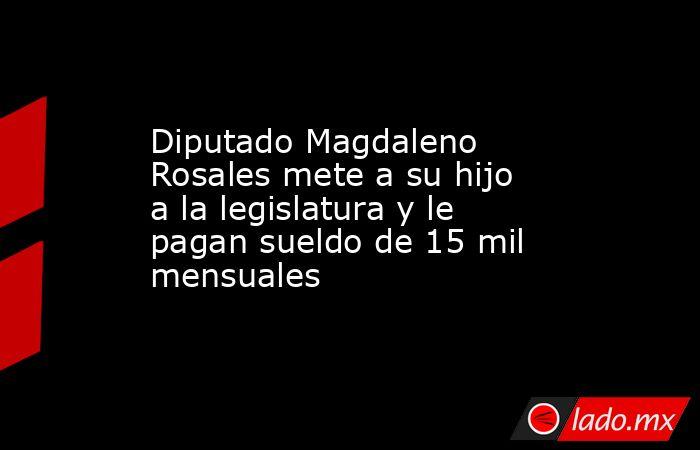 Diputado Magdaleno Rosales mete a su hijo a la legislatura y le pagan sueldo de 15 mil mensuales. Noticias en tiempo real