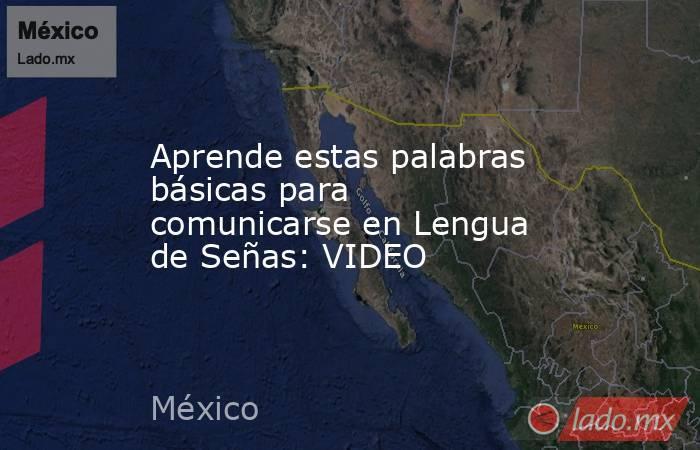 Aprende estas palabras básicas para comunicarse en Lengua de Señas: VIDEO. Noticias en tiempo real