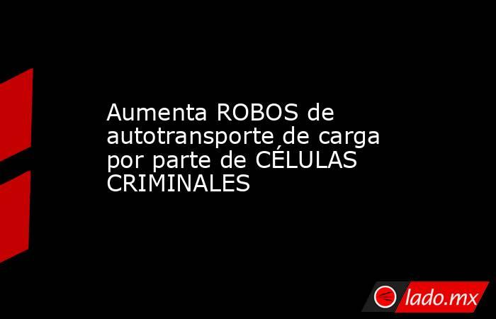 Aumenta ROBOS de autotransporte de carga por parte de CÉLULAS CRIMINALES. Noticias en tiempo real