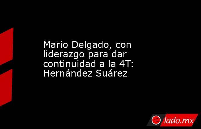 Mario Delgado, con liderazgo para dar continuidad a la 4T: Hernández Suárez. Noticias en tiempo real
