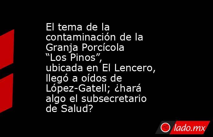 """El tema de la contaminación de la Granja Porcícola """"Los Pinos"""", ubicada en El Lencero, llegó a oídos de López-Gatell; ¿hará algo el subsecretario de Salud?. Noticias en tiempo real"""