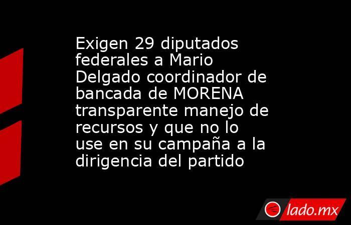 Exigen 29 diputados federales a Mario Delgado coordinador de bancada de MORENA transparente manejo de recursos y que no lo use en su campaña a la dirigencia del partido. Noticias en tiempo real
