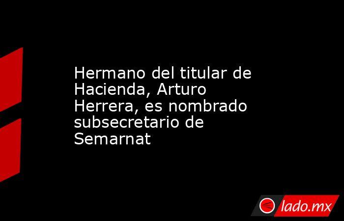 Hermano del titular de Hacienda, Arturo Herrera, es nombrado subsecretario de Semarnat. Noticias en tiempo real