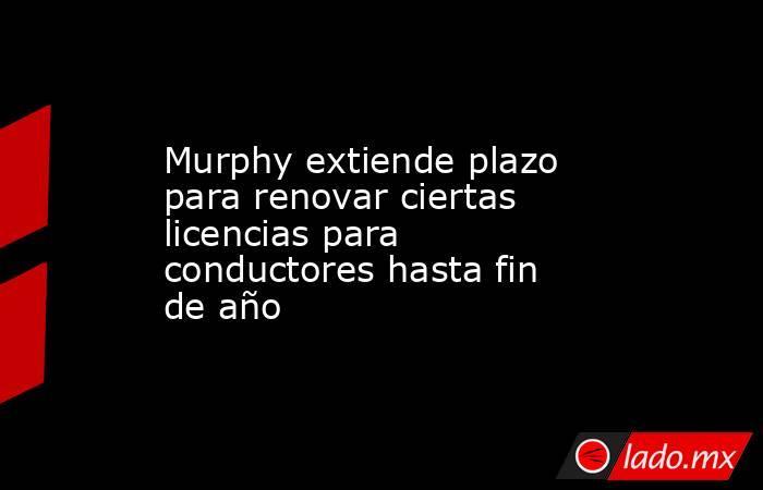 Murphy extiende plazo para renovar ciertas licencias para conductores hasta fin de año. Noticias en tiempo real
