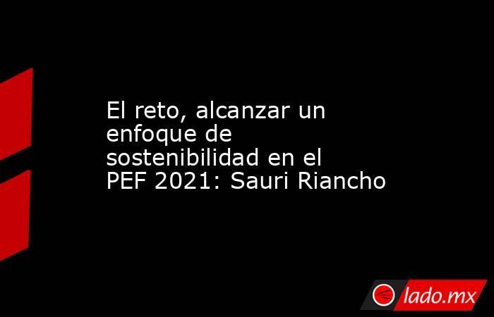 El reto, alcanzar un enfoque de sostenibilidad en el PEF 2021: Sauri Riancho. Noticias en tiempo real