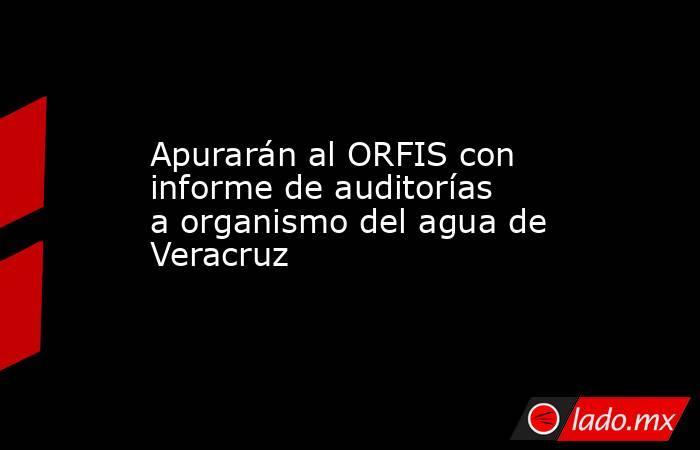 Apurarán al ORFIS con informe de auditorías a organismo del agua de Veracruz. Noticias en tiempo real
