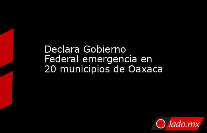 Declara Gobierno Federal emergencia en 20 municipios de Oaxaca. Noticias en tiempo real