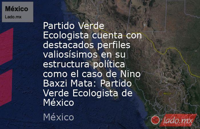 Partido Verde Ecologista cuenta con destacados perfiles valiosísimos en su estructura política como el caso de Nino Baxzi Mata: Partido Verde Ecologista de México. Noticias en tiempo real