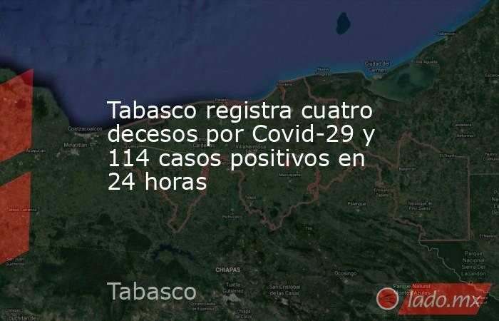 Tabasco registra cuatro decesos por Covid-29 y 114 casos positivos en 24 horas. Noticias en tiempo real