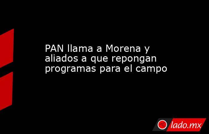 PAN llama a Morena y aliados a que repongan programas para el campo. Noticias en tiempo real