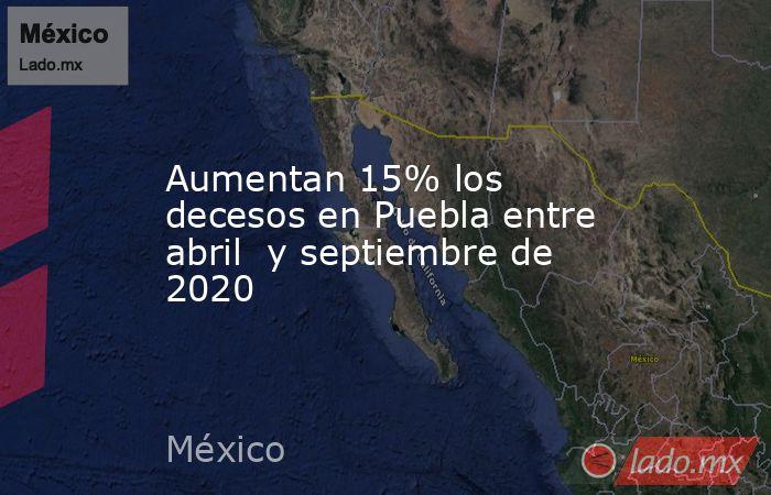 Aumentan 15% los decesos en Puebla entre abril  y septiembre de 2020. Noticias en tiempo real
