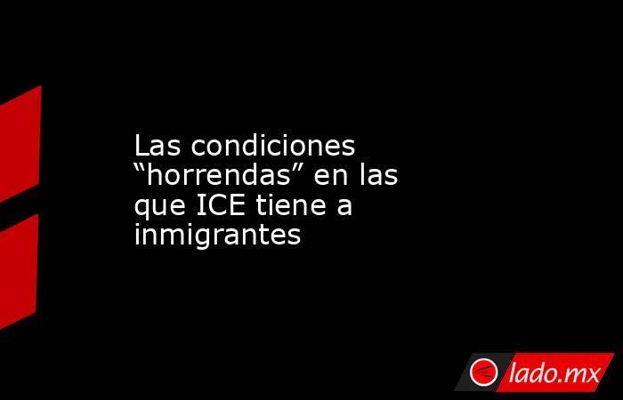 """Las condiciones """"horrendas"""" en las que ICE tiene a inmigrantes. Noticias en tiempo real"""