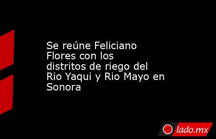 Se reúne Feliciano Flores con los distritos de riego del Rio Yaqui y Rio Mayo en Sonora. Noticias en tiempo real