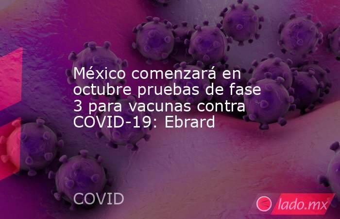 México comenzará en octubre pruebas de fase 3 para vacunas contra COVID-19: Ebrard. Noticias en tiempo real