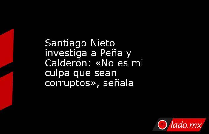 Santiago Nieto investiga a Peña y Calderón: «No es mi culpa que sean corruptos», señala. Noticias en tiempo real