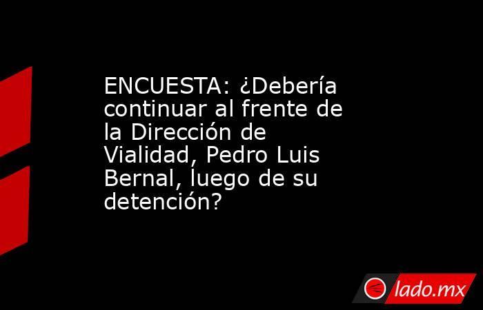 ENCUESTA: ¿Debería continuar al frente de la Dirección de Vialidad, Pedro Luis Bernal, luego de su detención?   . Noticias en tiempo real