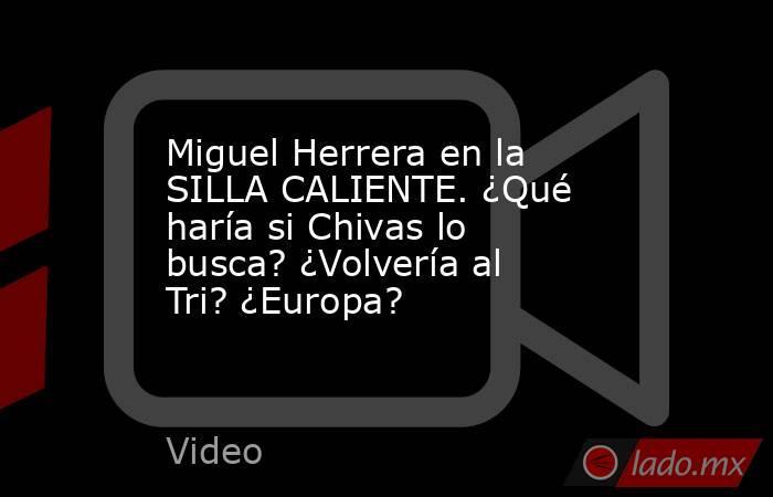 Miguel Herrera en la SILLA CALIENTE. ¿Qué haría si Chivas lo busca? ¿Volvería al Tri? ¿Europa?. Noticias en tiempo real