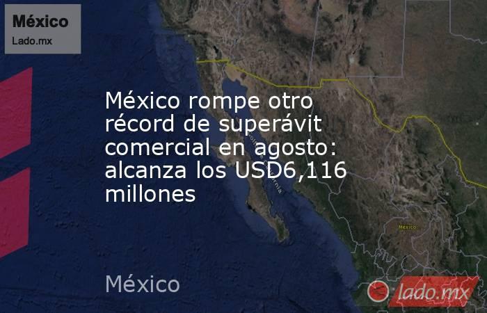 México rompe otro récord de superávit comercial en agosto: alcanza los USD6,116 millones. Noticias en tiempo real