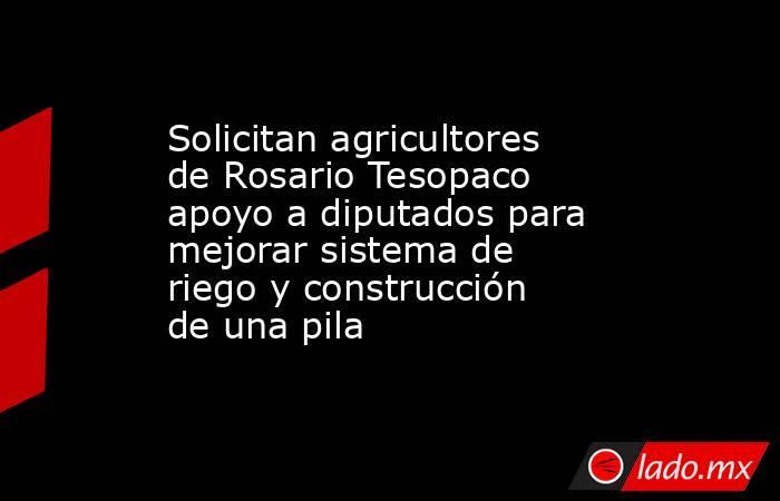 Solicitan agricultores de Rosario Tesopaco apoyo a diputados para mejorar sistema de riego y construcción de una pila. Noticias en tiempo real