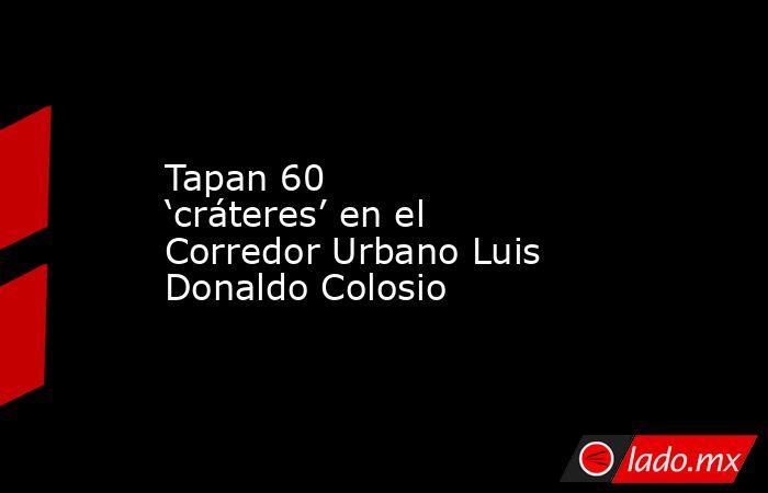 Tapan 60 'cráteres' en el Corredor Urbano Luis Donaldo Colosio. Noticias en tiempo real