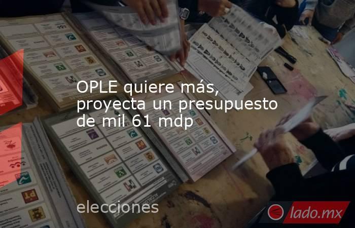 OPLE quiere más, proyecta un presupuesto de mil 61 mdp. Noticias en tiempo real
