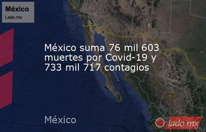 México suma 76 mil 603 muertes por Covid-19 y 733 mil 717 contagios. Noticias en tiempo real