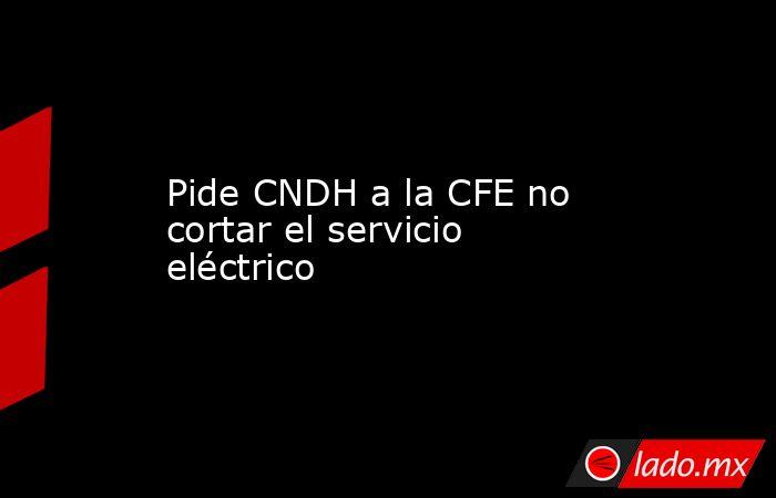 Pide CNDH a la CFE no  cortar el servicio eléctrico. Noticias en tiempo real