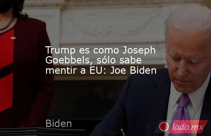 Trump es como Joseph Goebbels, sólo sabe mentir a EU: Joe Biden. Noticias en tiempo real