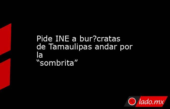 """Pide INE a bur?cratas de Tamaulipas andar por la """"sombrita"""". Noticias en tiempo real"""